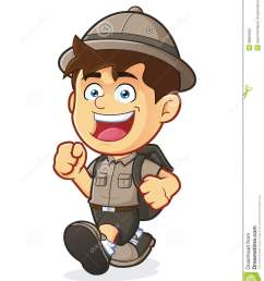 vector clipart picture of a boy scout or explorer boy cartoon character walking [ 1130 x 1300 Pixel ]