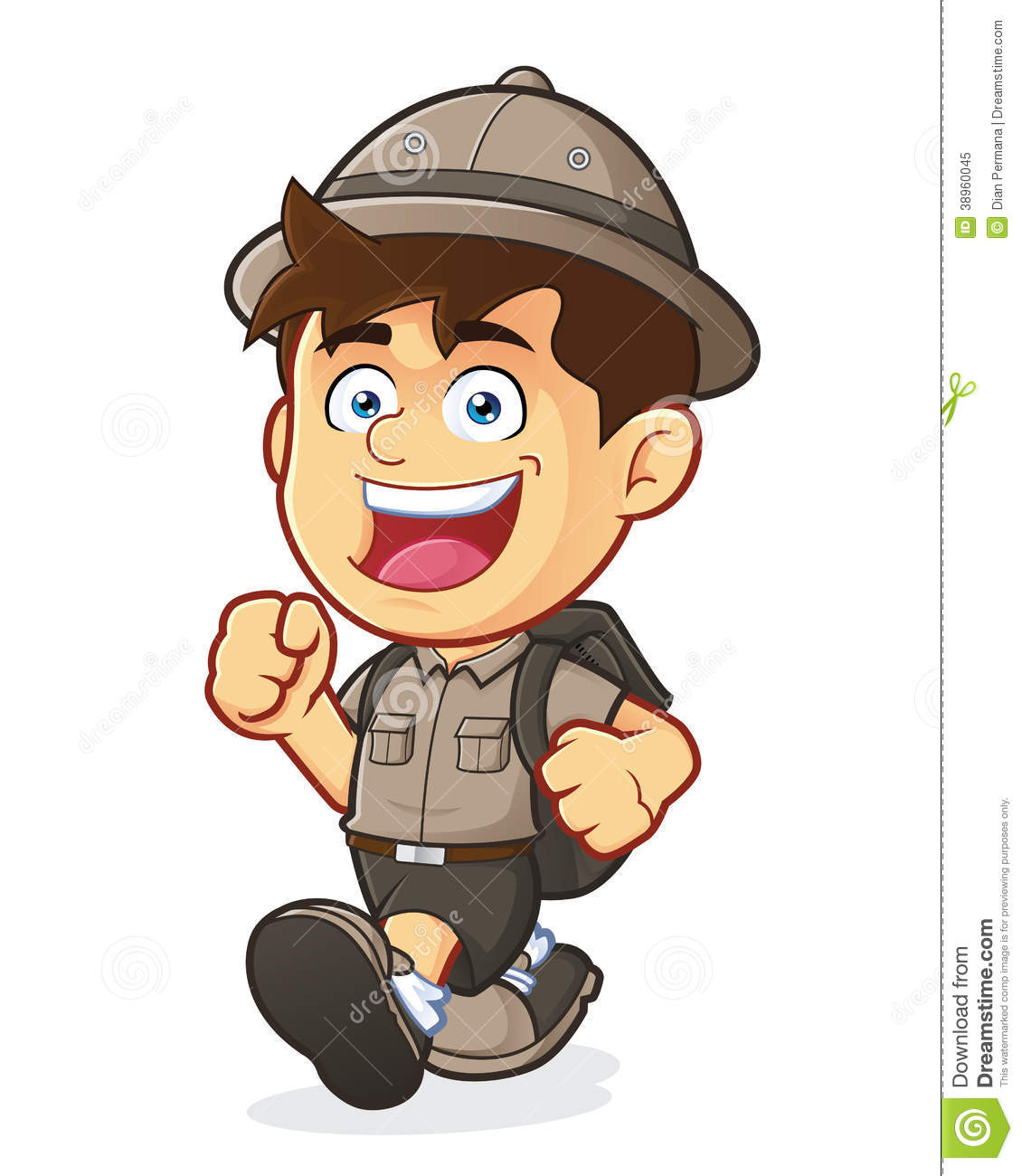 hight resolution of vector clipart picture of a boy scout or explorer boy cartoon character walking