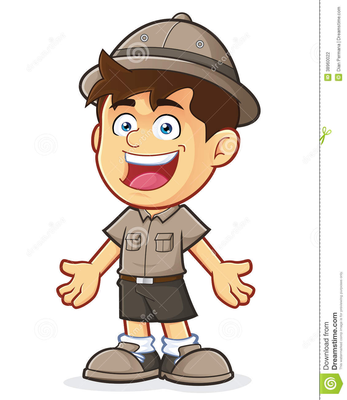 hight resolution of boy scout or explorer boy in welcoming gesture