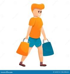 icon boy bags shopping cartoon vector isolated