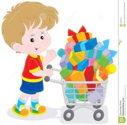 trolley shopping supermarket boy going overfilled buyer gifts boxes colorful vector