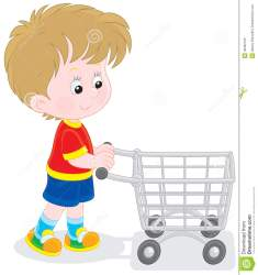 shopping boy trolley supermarket going buyer child preview