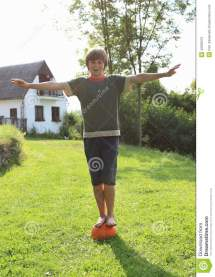 Boy Standing Ball Stock Of Feet Foot