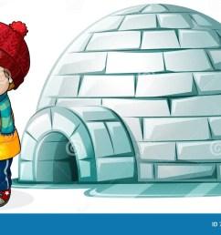 boy standing in front of igloo [ 1300 x 815 Pixel ]