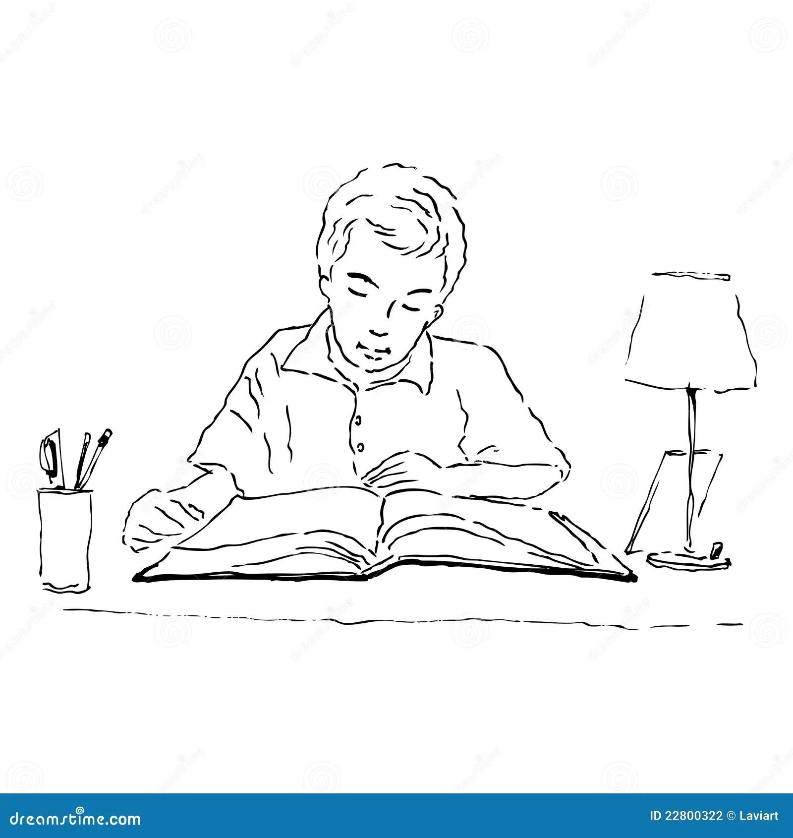 Boy studying stock illustration. Image of cartoon, study