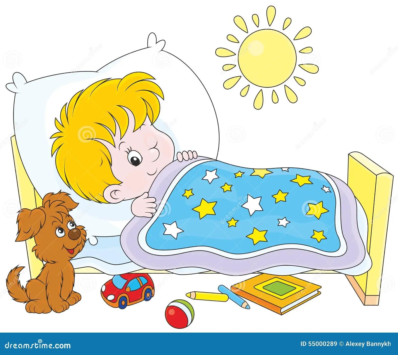 Boy Waking Up Stock Vector Illustration Of Awake