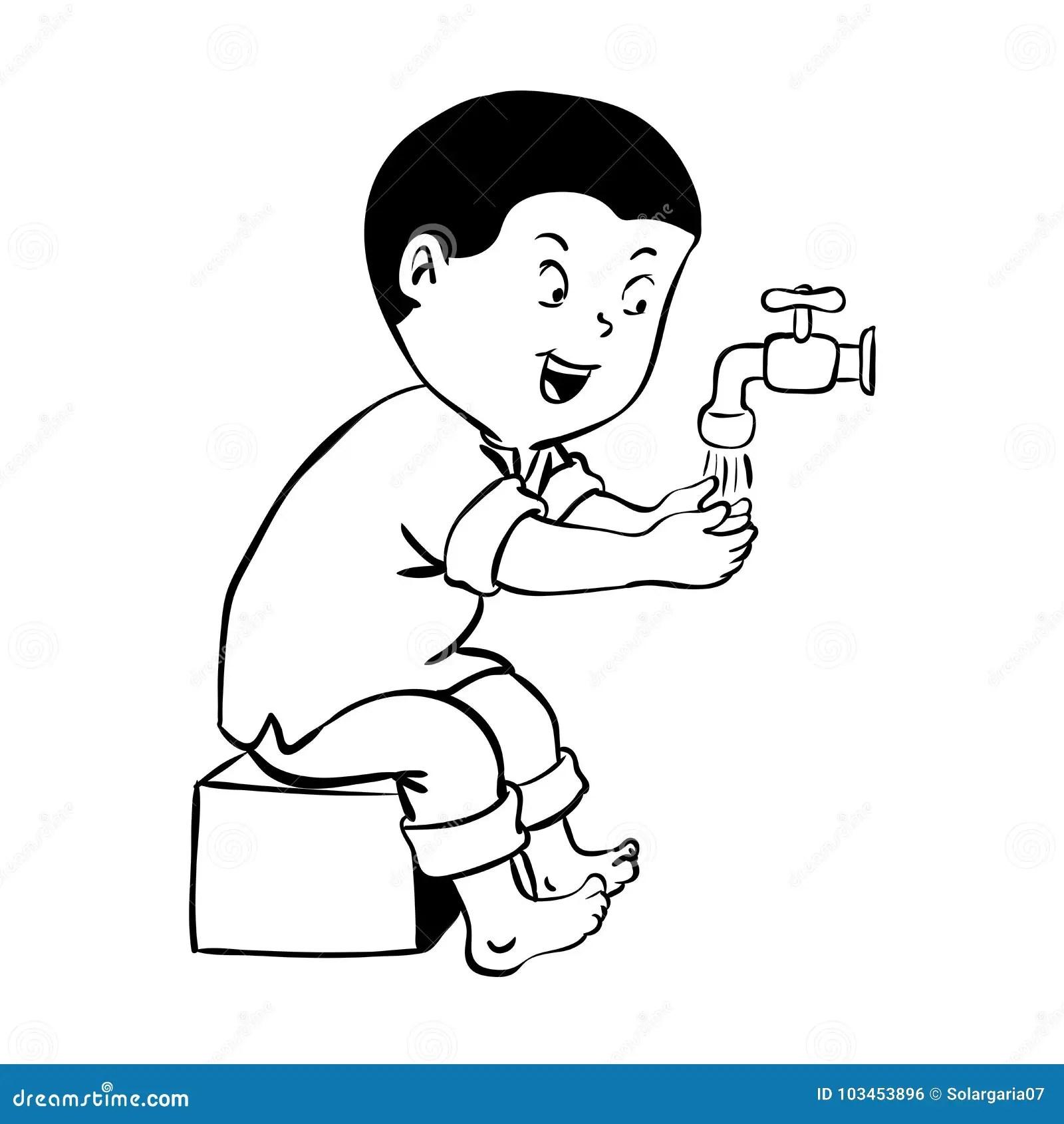 Boy Warshing Hand For Wudhu Vector Illustration Stock
