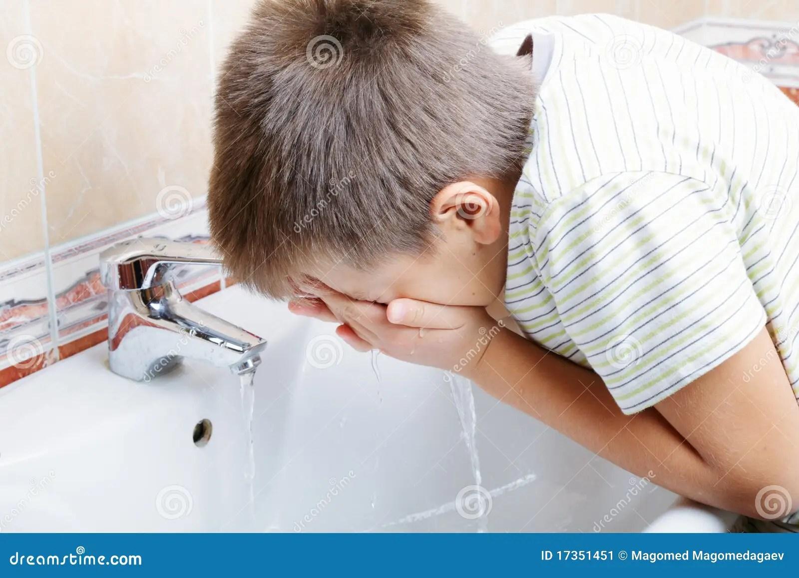 Boy Washing Face Stock Image Image Of Healthy Caucasian