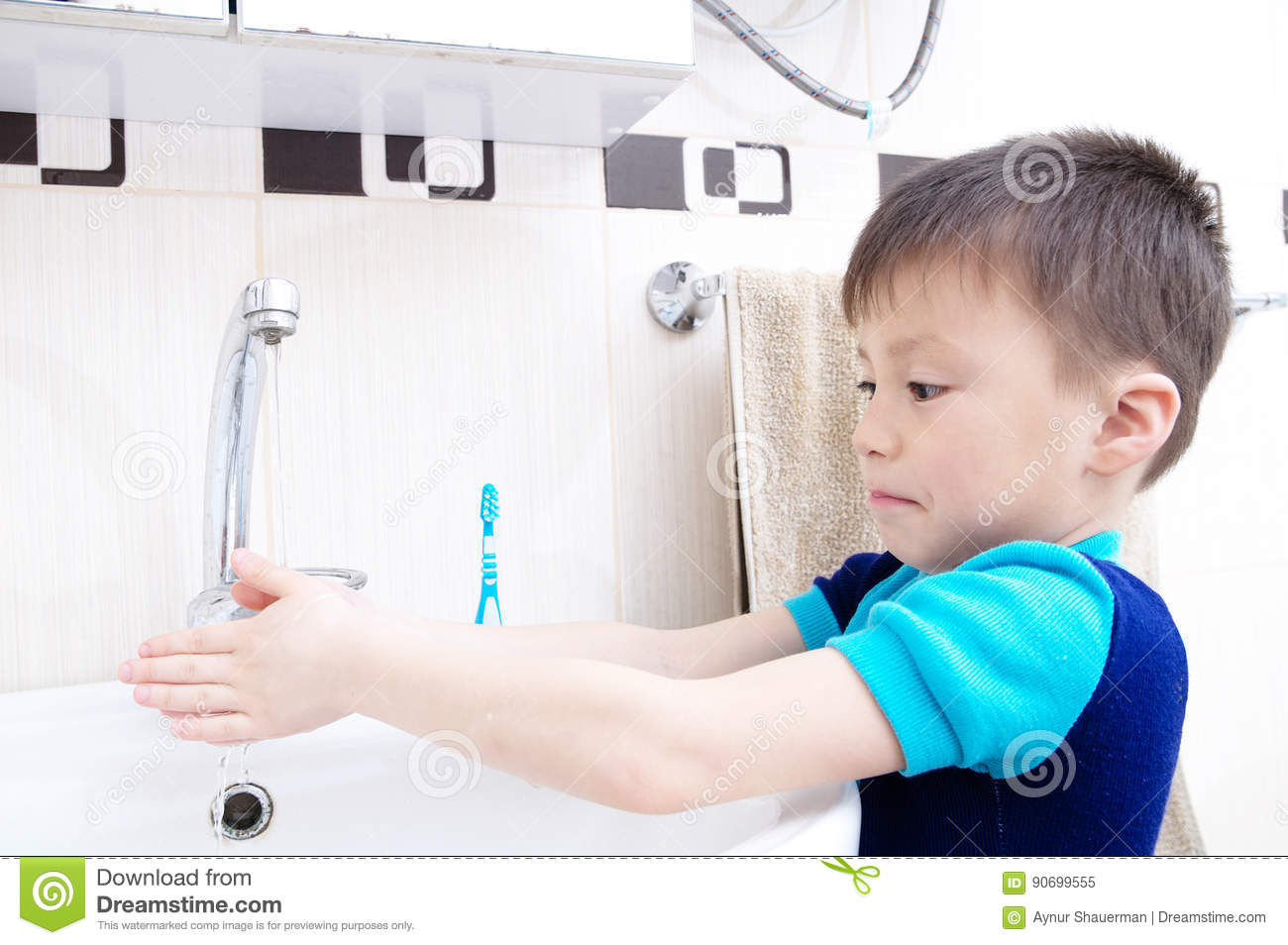 Boy Washing Hands Child Personal Health Care Hygiene