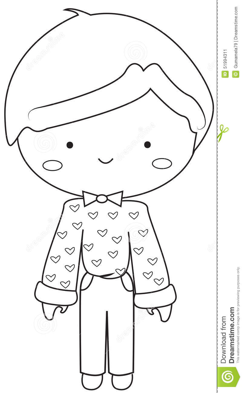 Boy Wearing Vintage Dress Coloring Page Stock Illustration