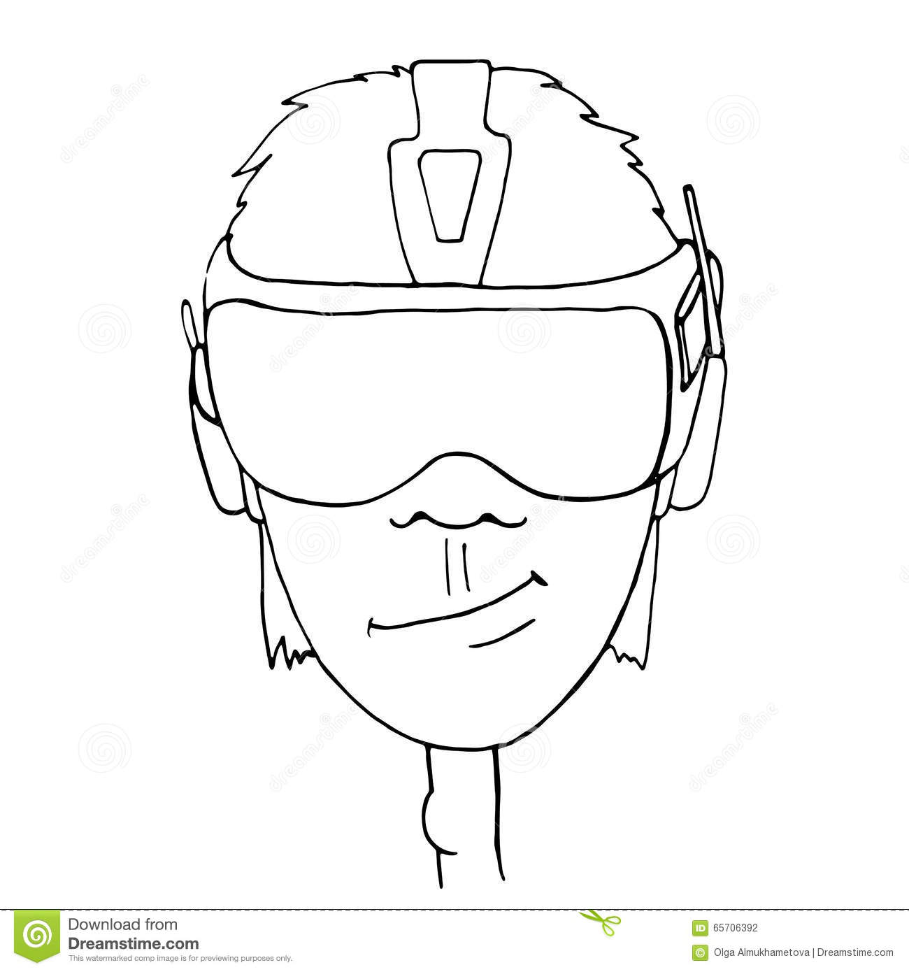 Boy Wearing A Virtual Reality Headset Stock Vector
