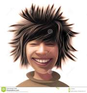 boy with wild hair style stock