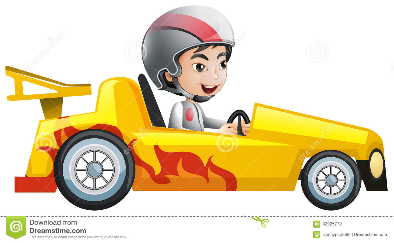 hight resolution of boy in yellow racing car
