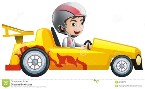 small resolution of boy in yellow racing car