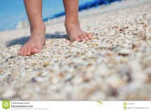 Boys Feet Seashells Royalty Free Stock