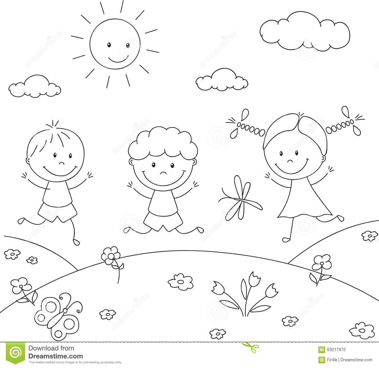 Boys And A Girl Playing In The Meadow. Coloring Book Stock