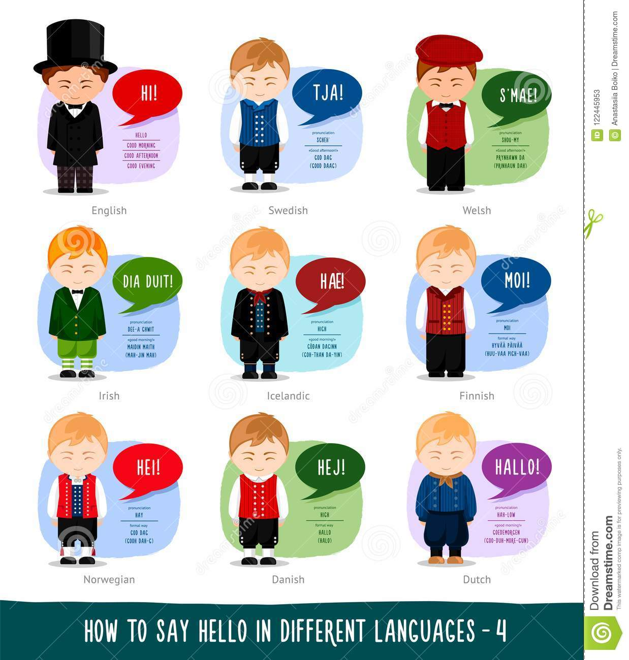 Boys Saying Hello In Foreign Languages Stock Vector