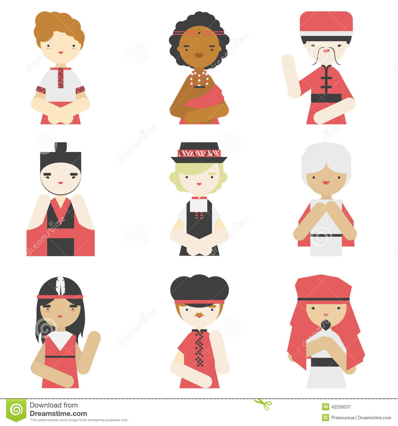 Boys In Traditional Clothes Flat Icons Stock Vector