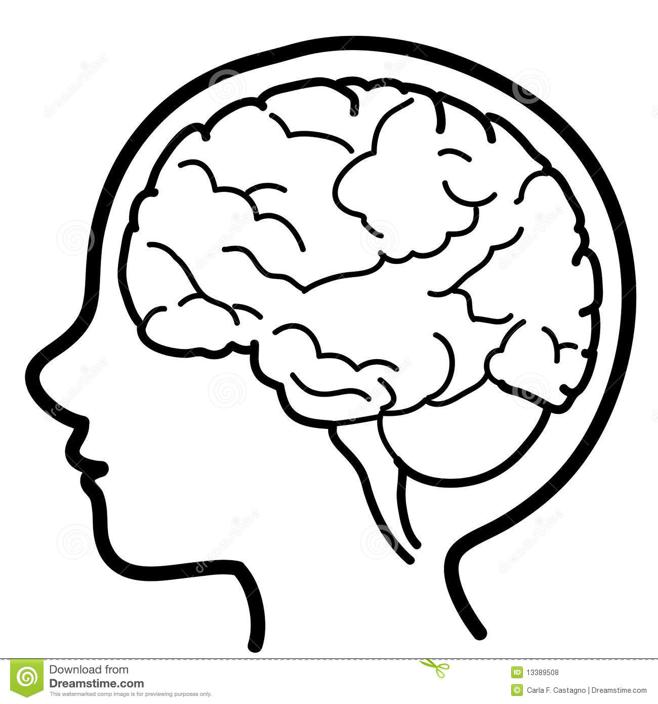 Child Profile With Visible Brain Stock Vector