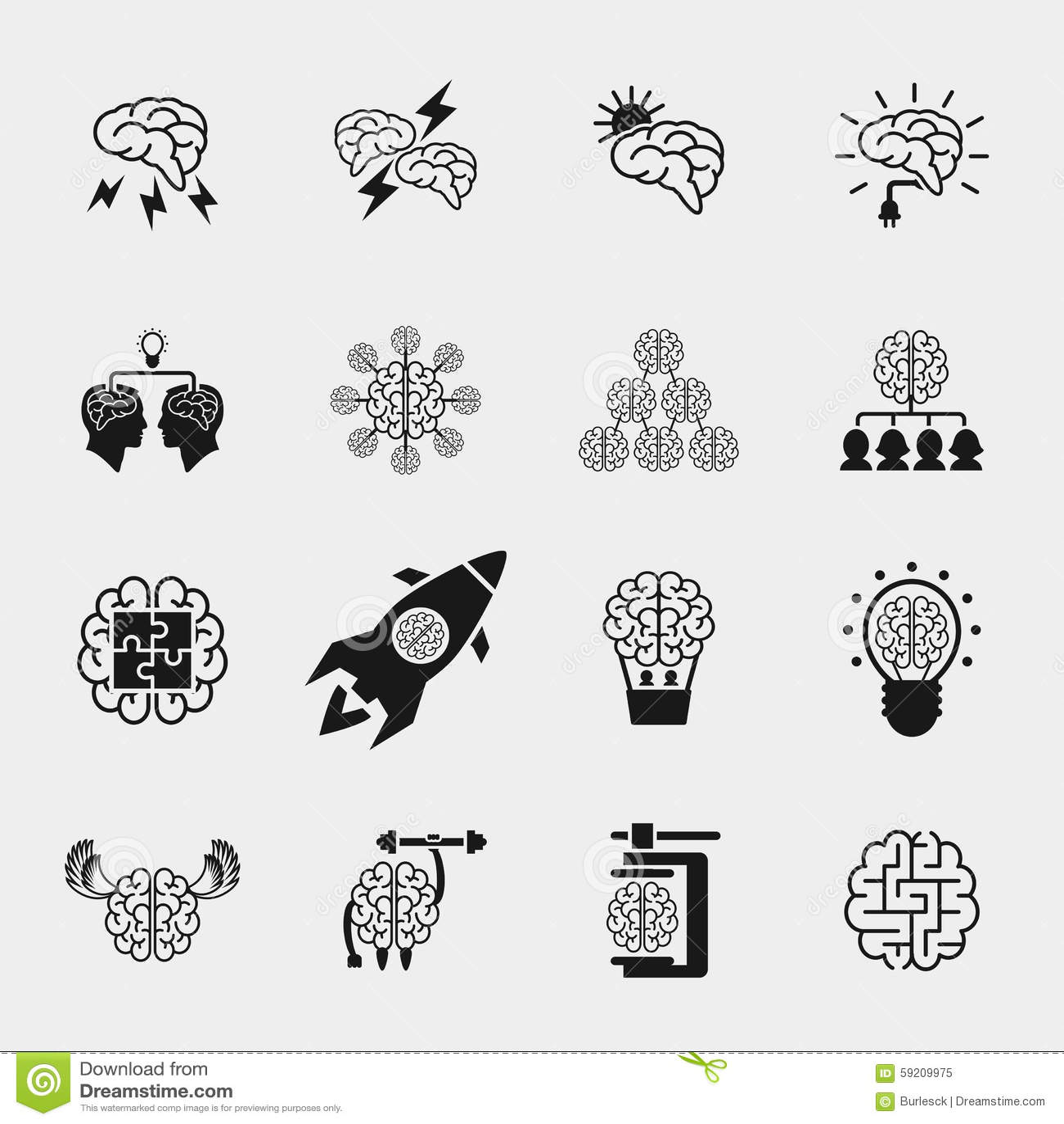 Human Head, Creative Idea Icons Set Cartoon Vector