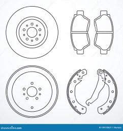 brake disc brake drum and brake pads brake parts icons [ 1300 x 1390 Pixel ]
