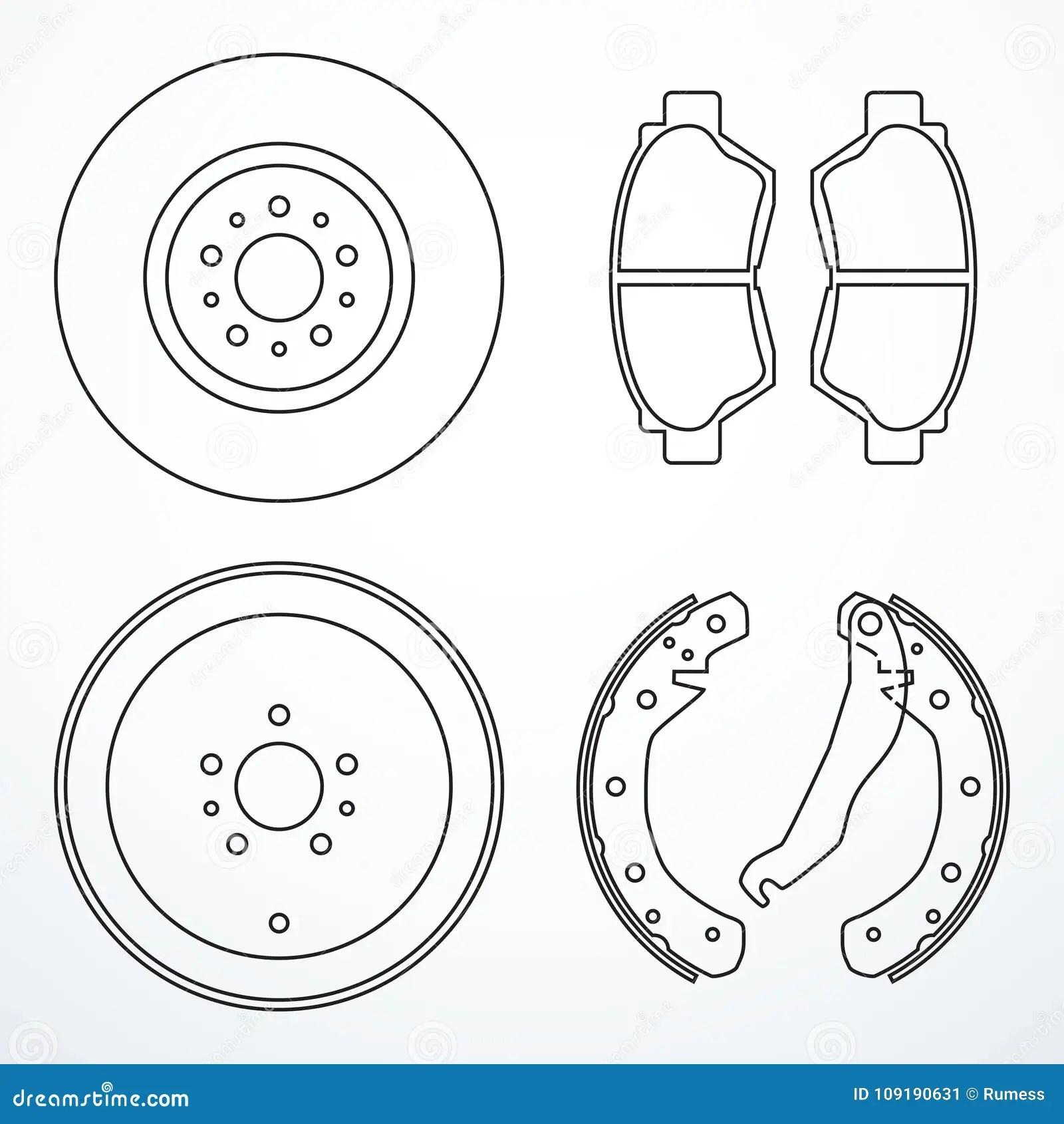 hight resolution of brake disc brake drum and brake pads brake parts icons