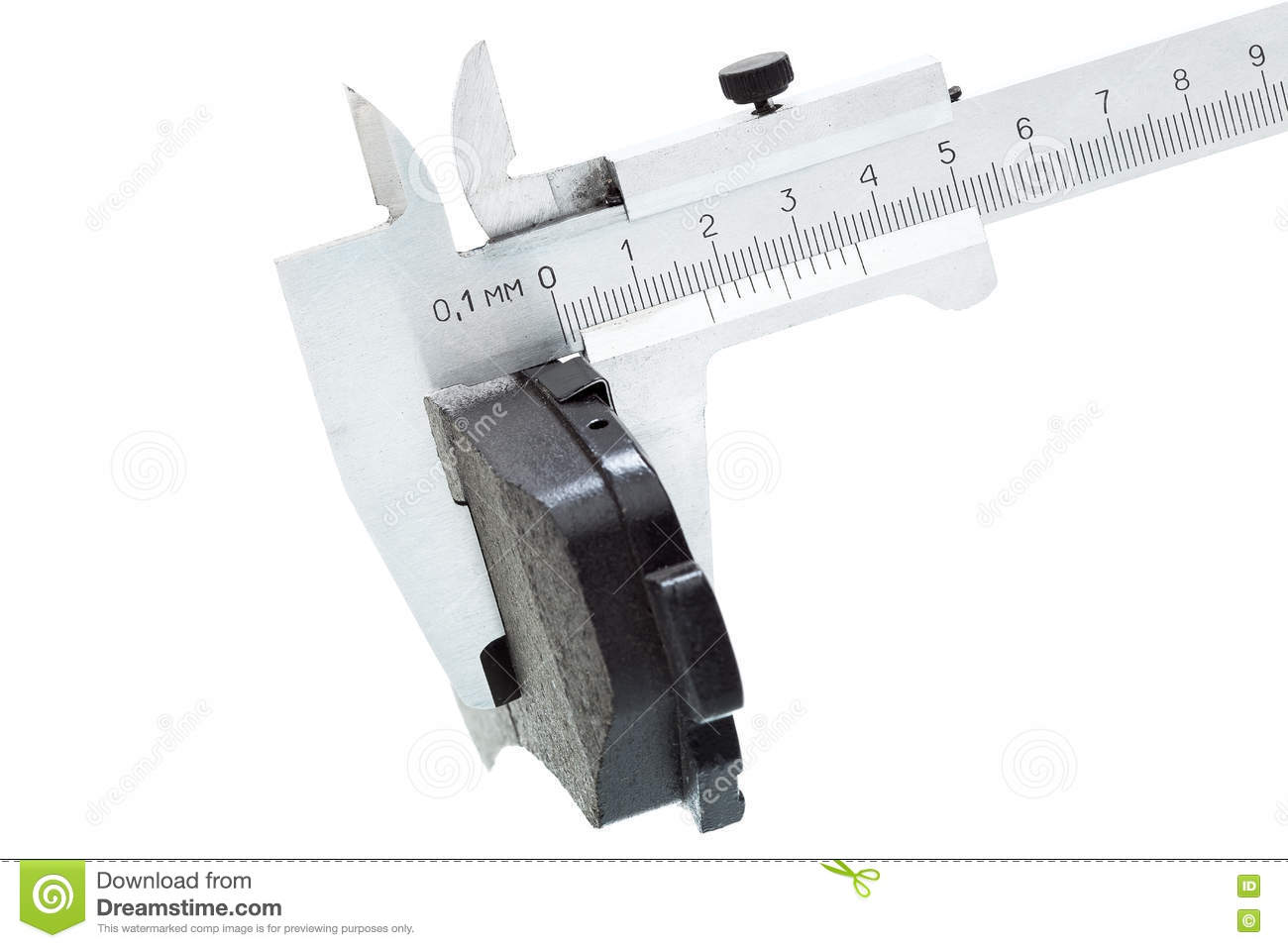 hight resolution of brake pads of the car on a white background measurement by a caliper of thickness isolated image nobody