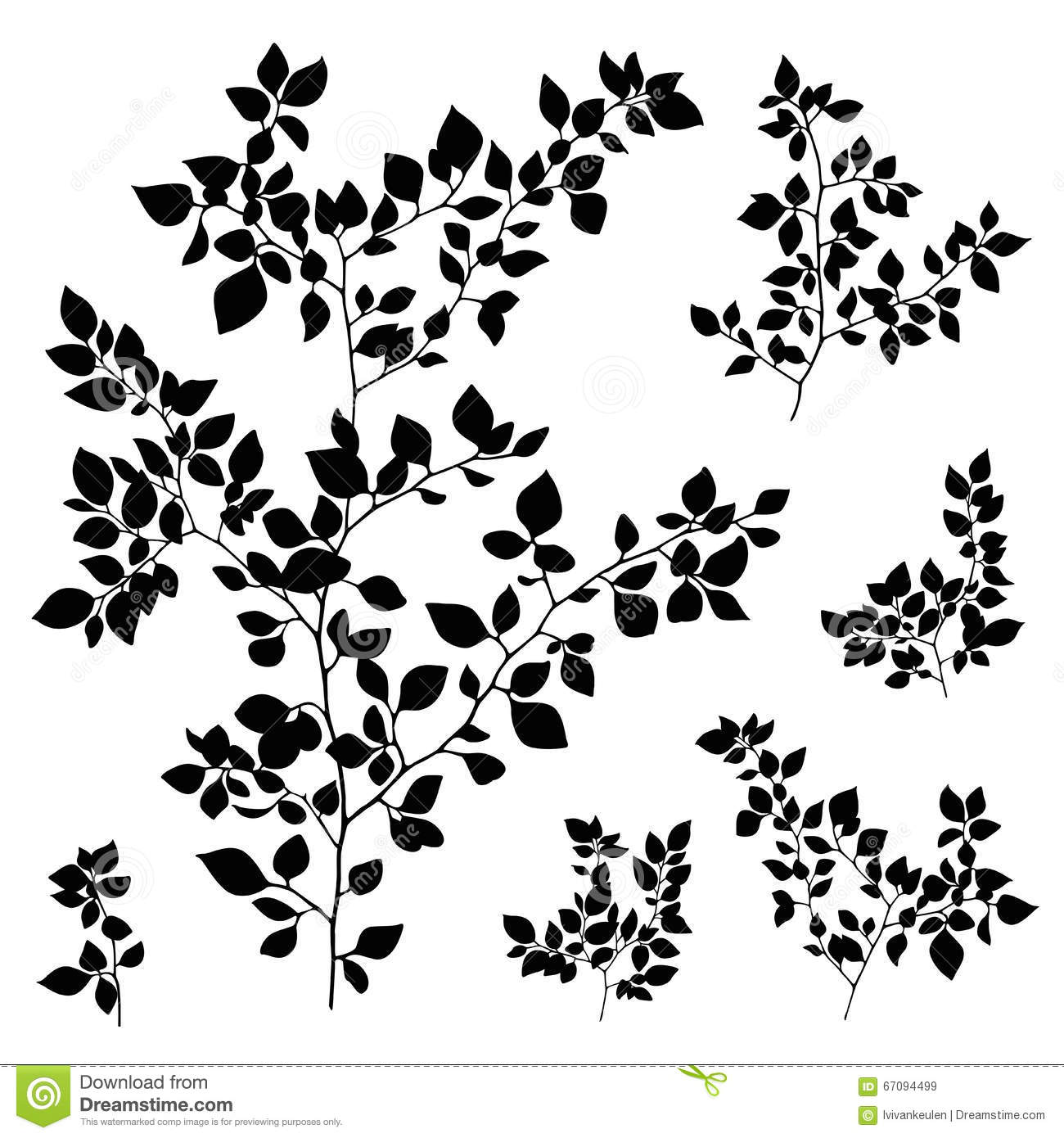 Tree Branches With Leaves Silhouette Vector Illustration