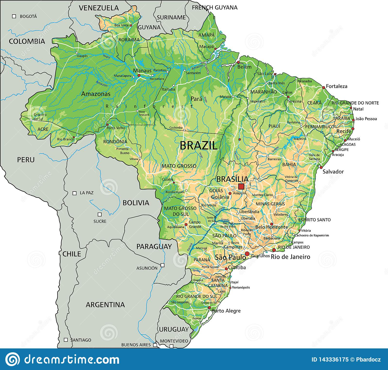 High Detailed Brazil Physical Map With Labeling Stock