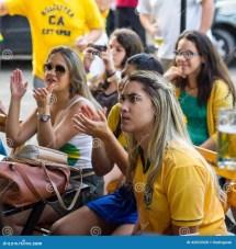 Brazilian Girls Watching World Cup Match Tv Bar
