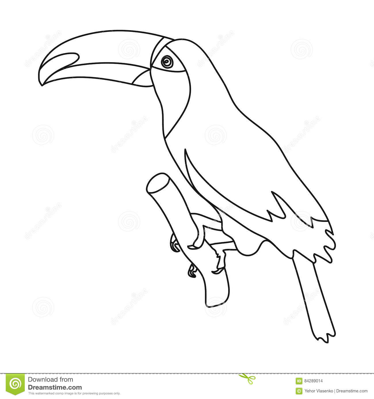 Brazilian Toucan Icon In Outline Style Isolated On White