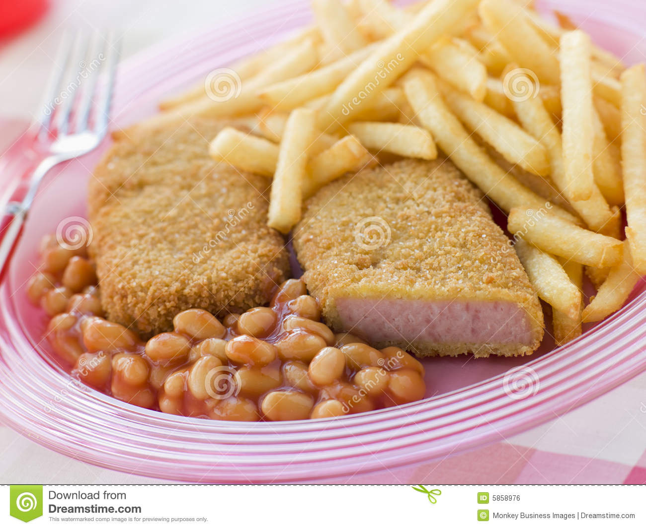 Bread Crumbed Luncheon Meat With Baked Beans Royalty Free