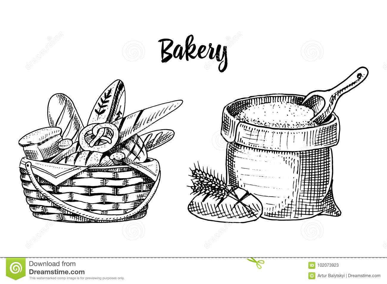 Bread And Long Loaf And Pastry Engraved Hand Drawn In Old