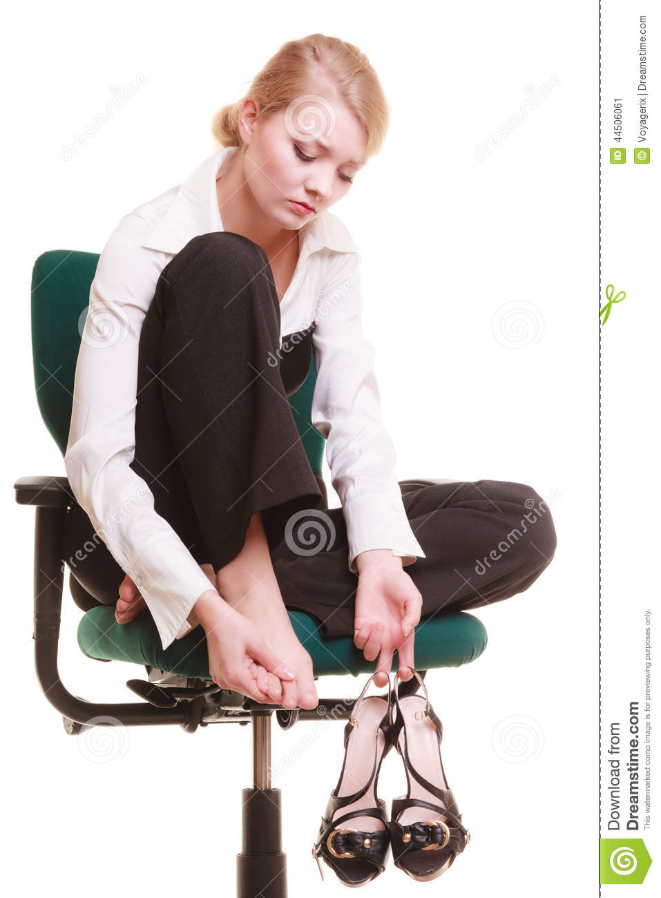 office max chair covers for hire staffordshire break from work. tired businesswoman with leg pain stock photo - image: 44506061