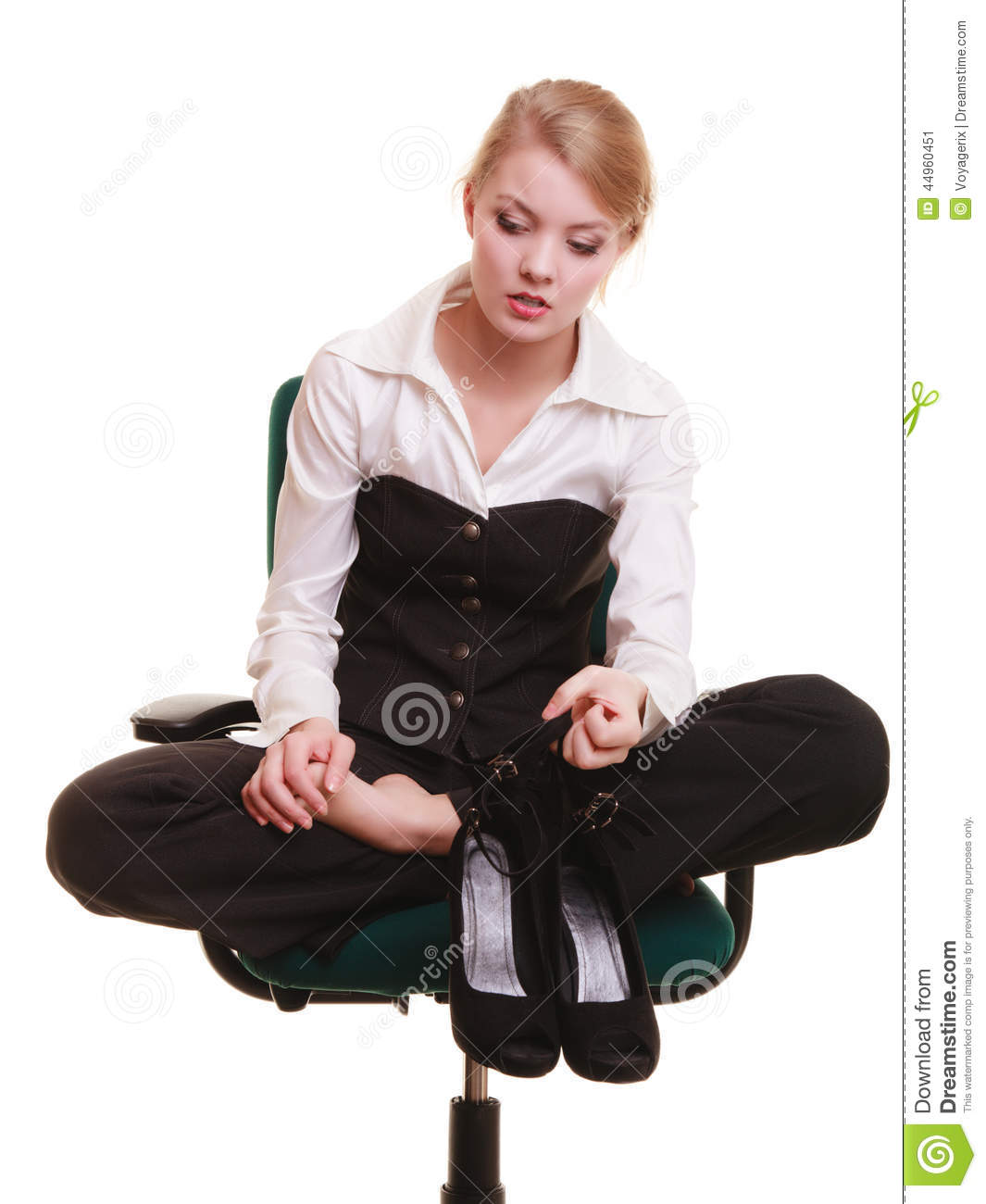 office chair with leg rest thrive kennedy break from work. tired businesswoman pain stock photo - image: 44960451