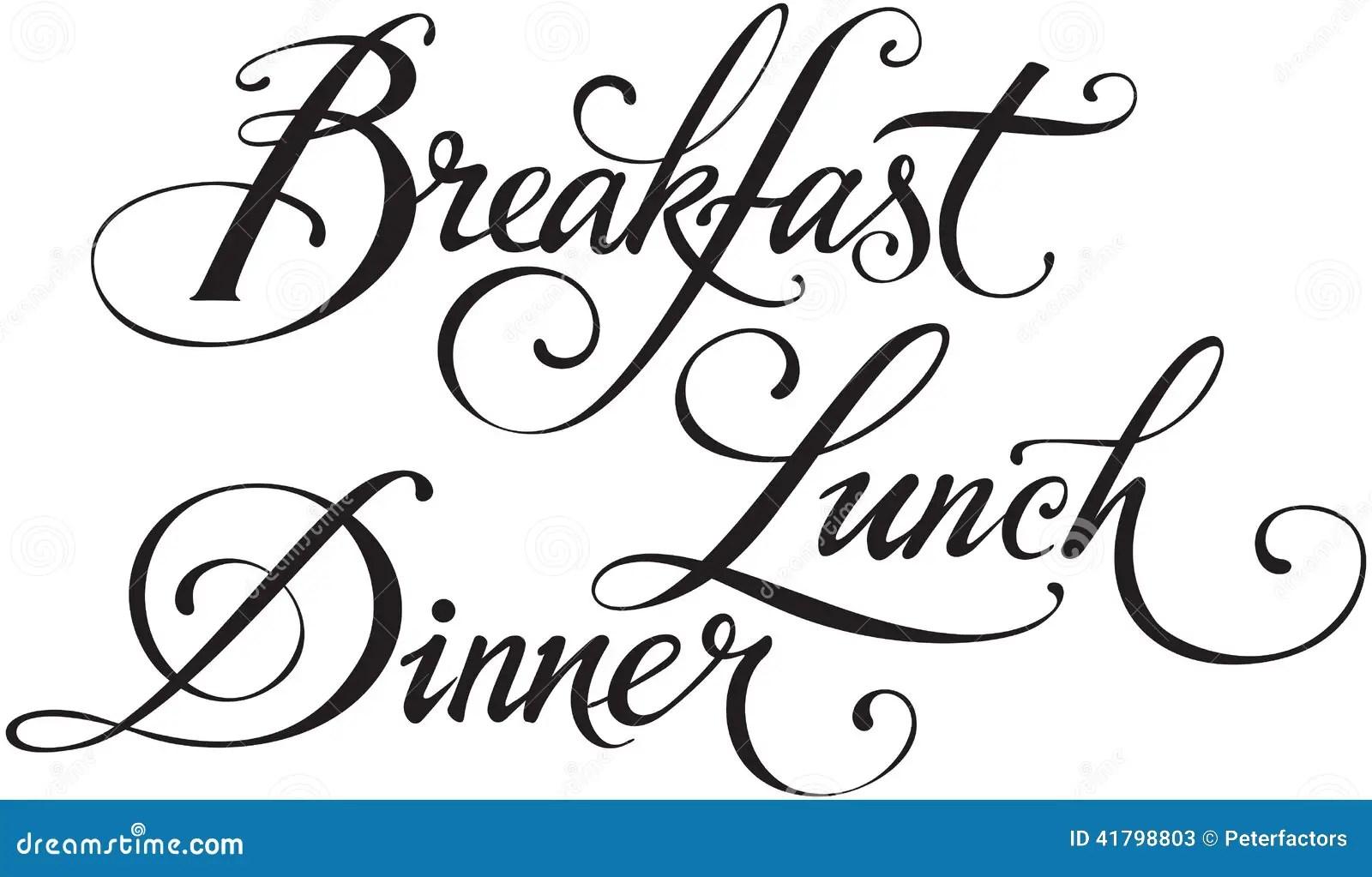 Breakfast Lunch Dinner Stock Vector Illustration Of White