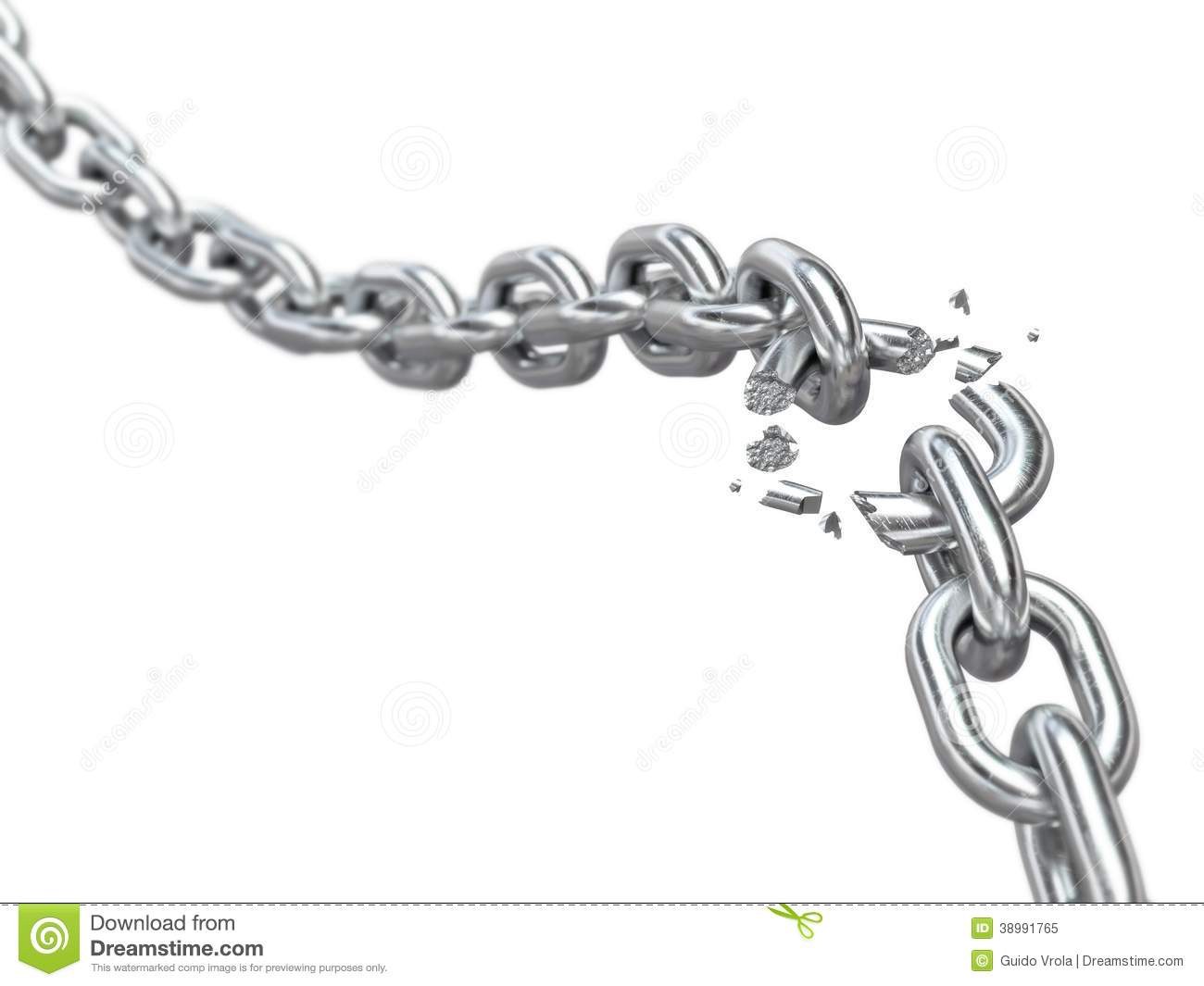 Breaking Chain Weak Link Concept 3d Royalty Free