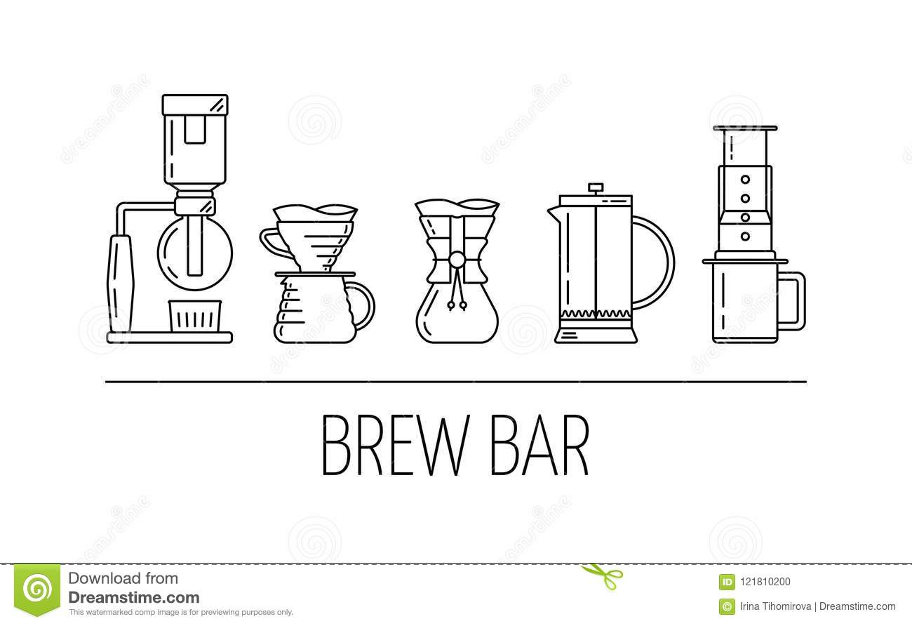 Brew Bar Set Vector Black Line Icons Of Coffee Brewing