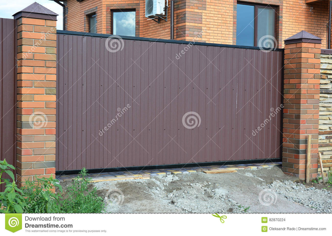 Brick And Metal Fence With Door And Gate Of Modern Style