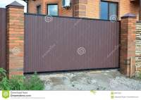 Brick And Metal Fence With Door And Gate Of Modern Style ...