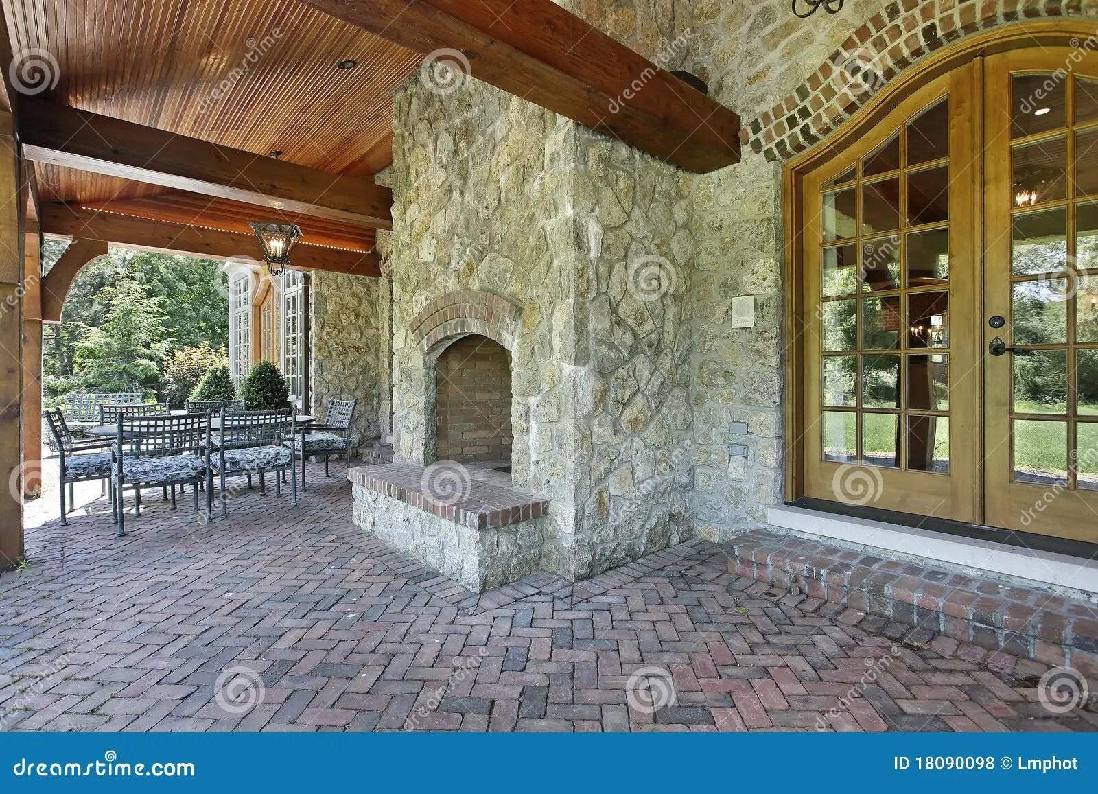 Brick Patio With Stone Fireplace Royalty Free Stock Photos  Image 18090098