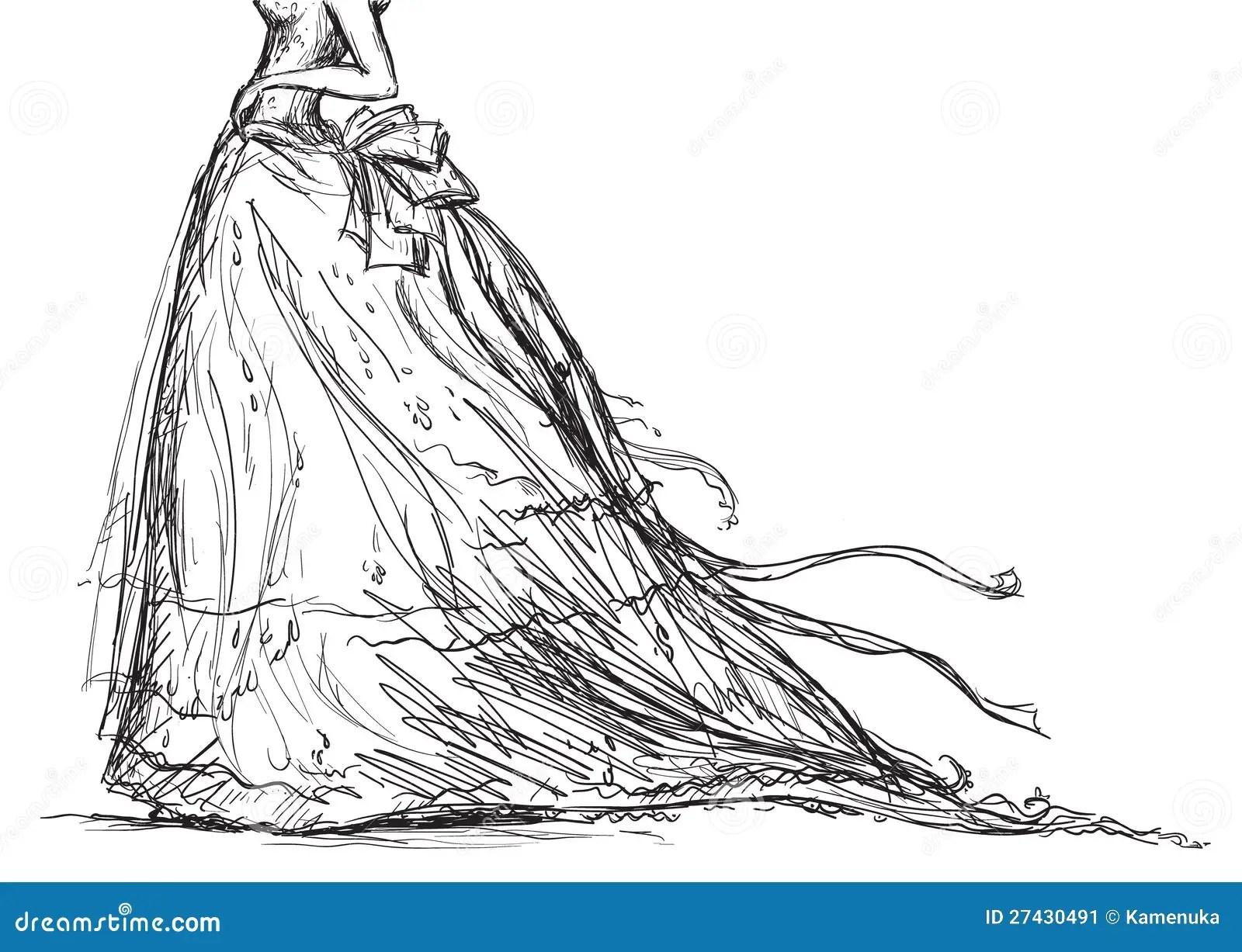Bridal Dress Drawing Stock Vector Illustration Of Retro