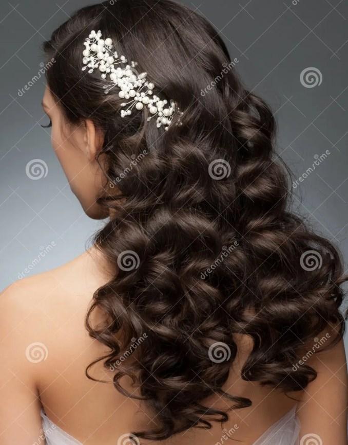 bridal hairstyle stock image. image of elegance, female