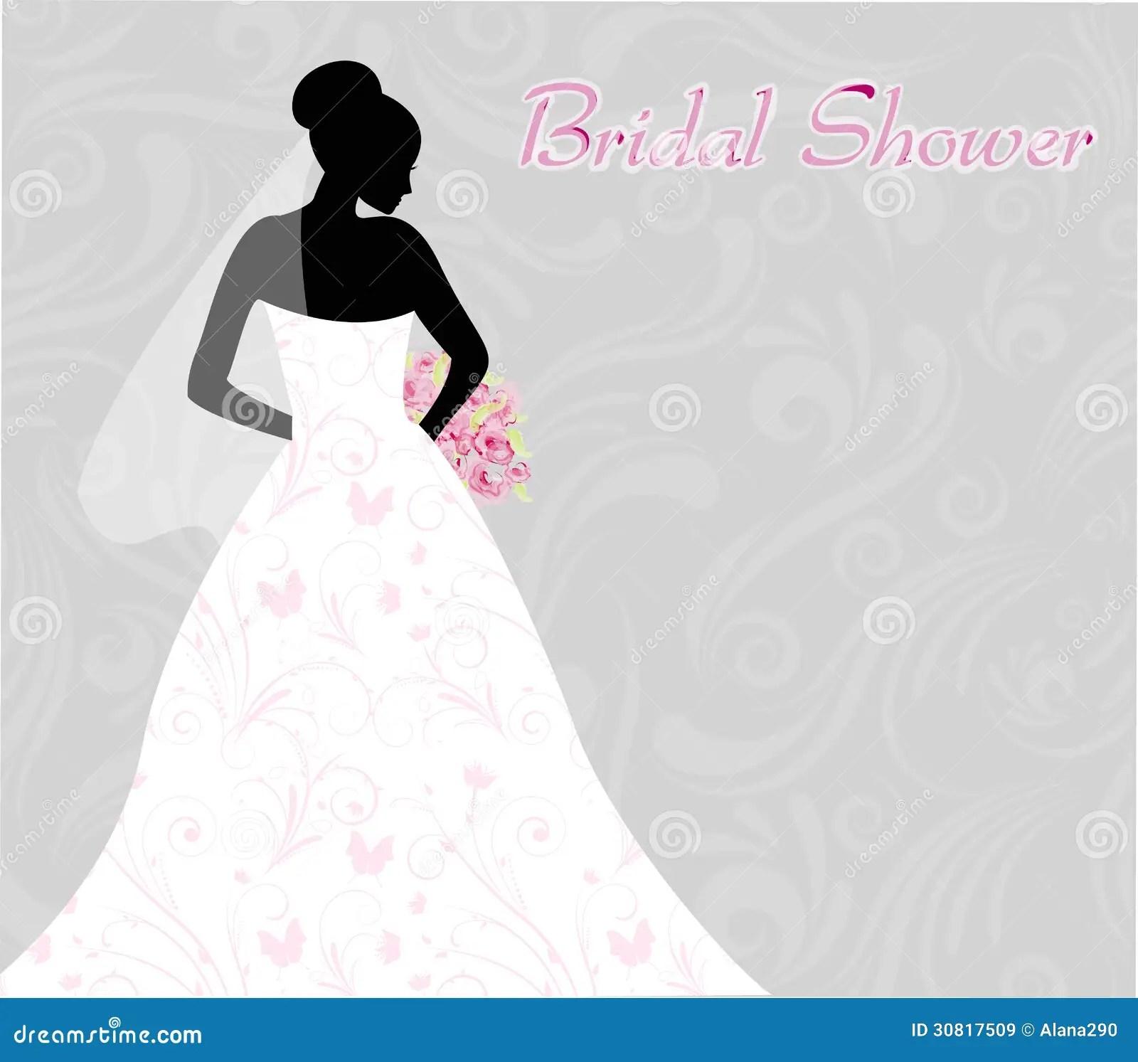 Bridal Shower Invitations Dress Silhouette