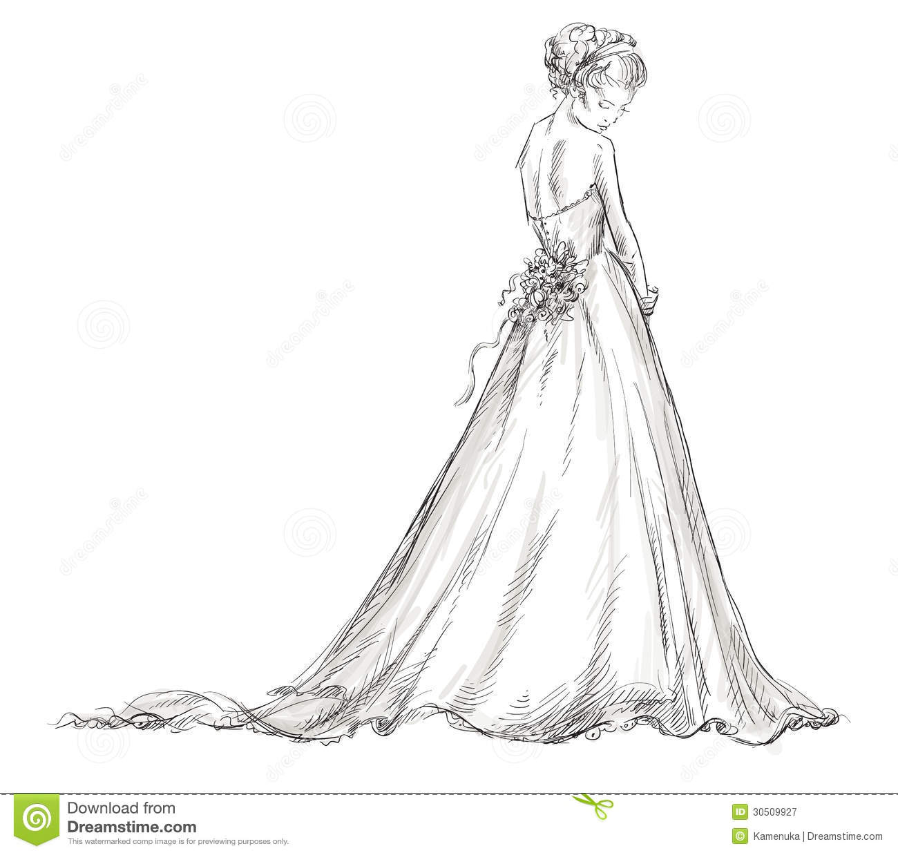 Bride. Beautiful Young Girl In A Wedding Dress. Stock