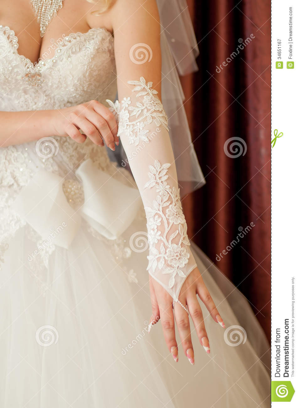 Bride Dresses On Their Hands White Gloves Royalty Free Stock Photography  Image 34651167
