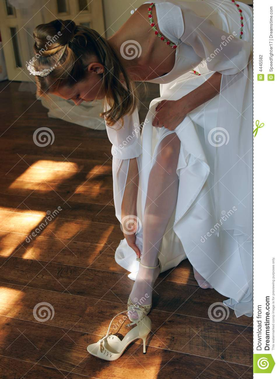 Bride getting dressed stock photo Image of fashion single  4445582
