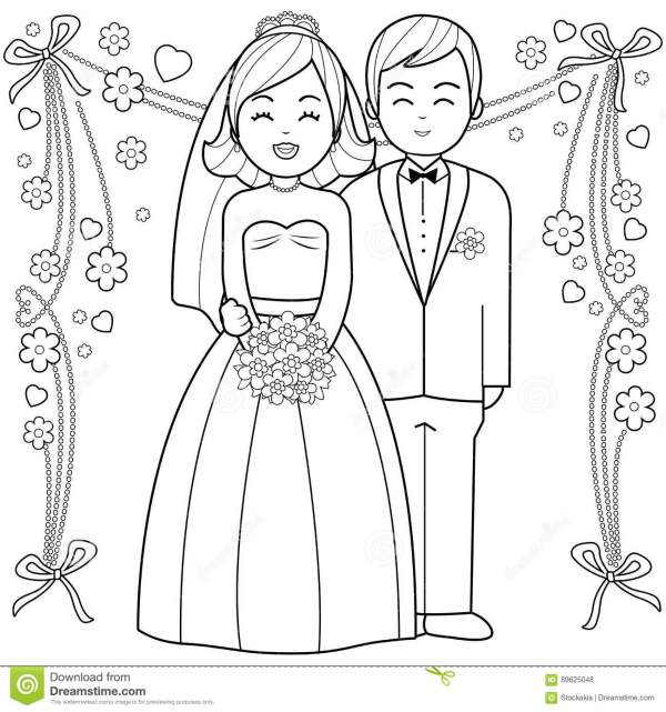 bride and groom coloring pages # 5