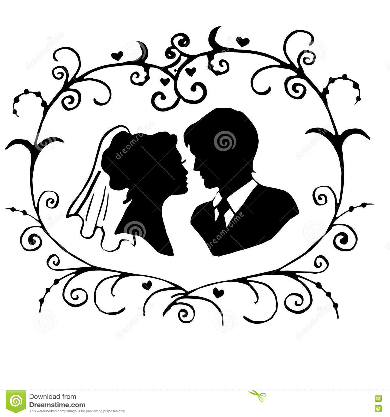 The Bride And Groom Stock Vector Illustration Of Stencil