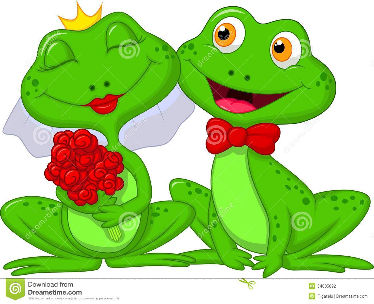 bride and groom frogs